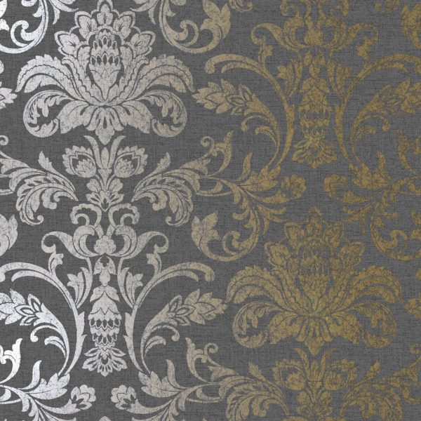 12710 Glistening Damask Charcoal: Gold Product
