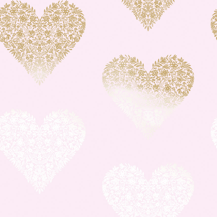 12721 Floral Heart Pink:Gold Product