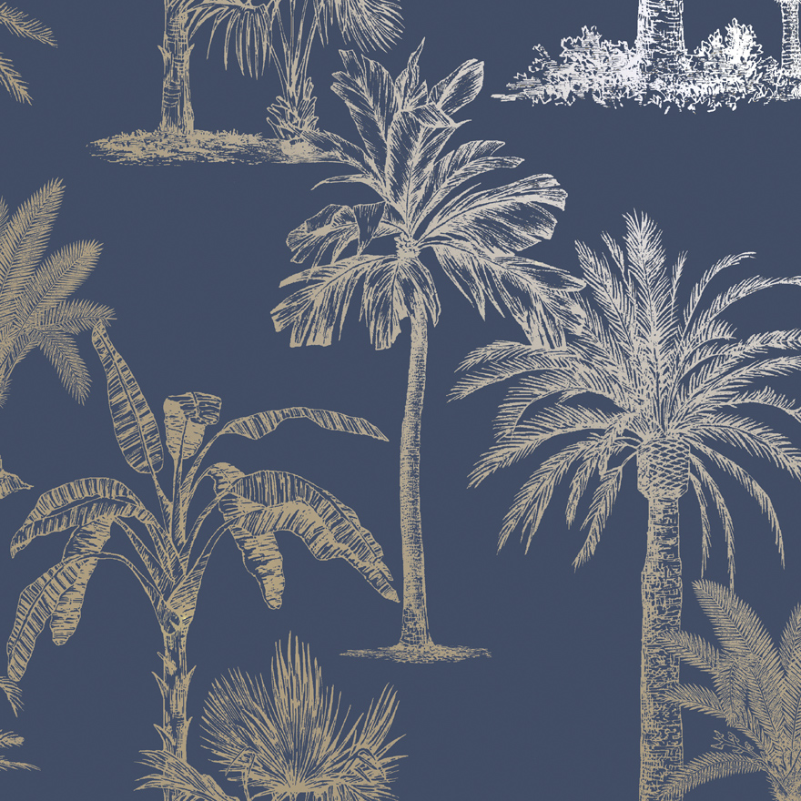 12821 Glistening Tropical Tree Navy shiny product