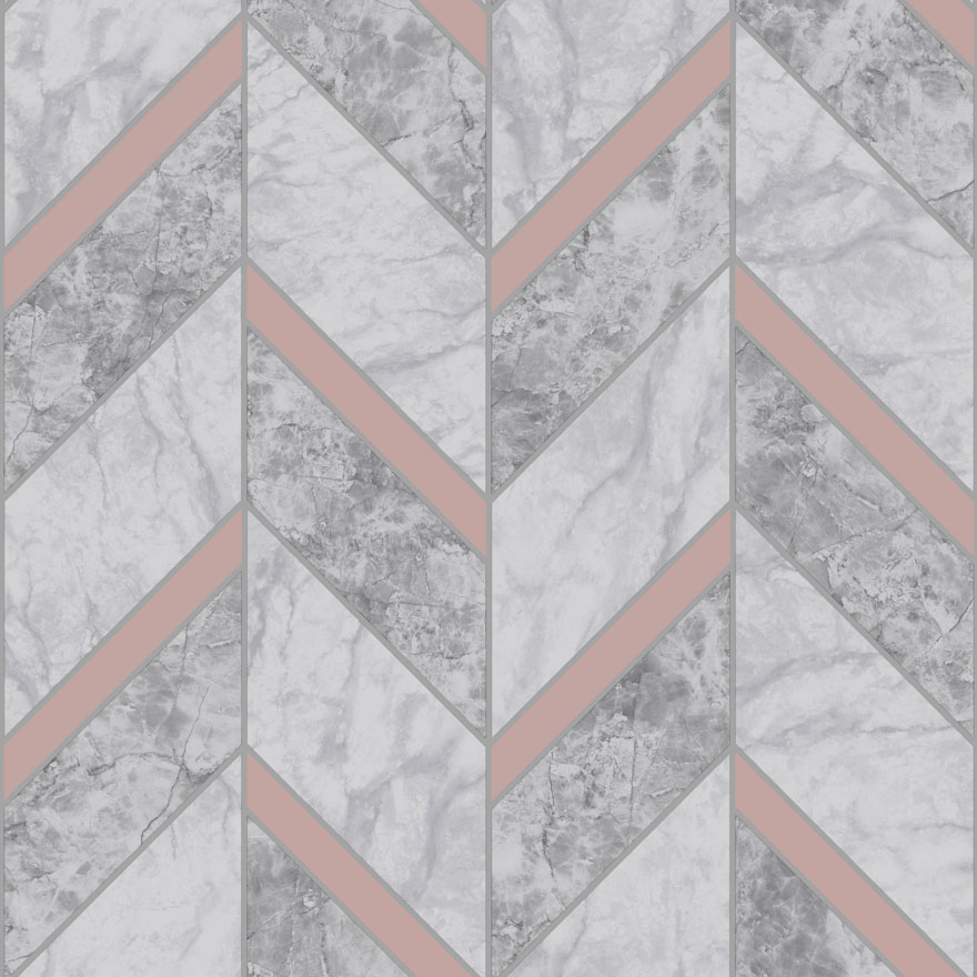 89342 Carrara Tile Charcoal_ Rose Gold