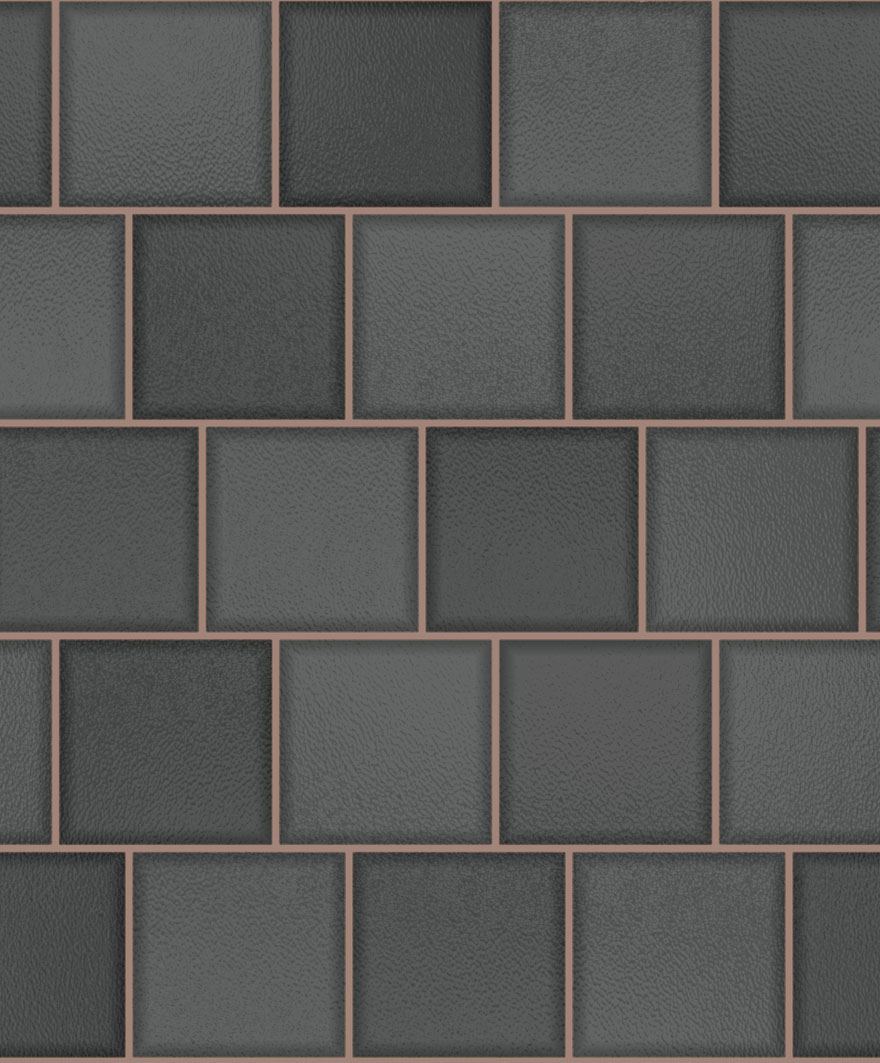 89353 Glass Tile Charcoal_Rose Gold