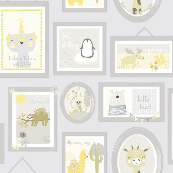 90970 Animal frames yellow grey