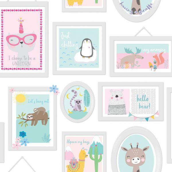 90971 Animal frames teal pink